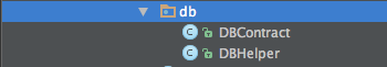 New files DBContract and DBHelper.