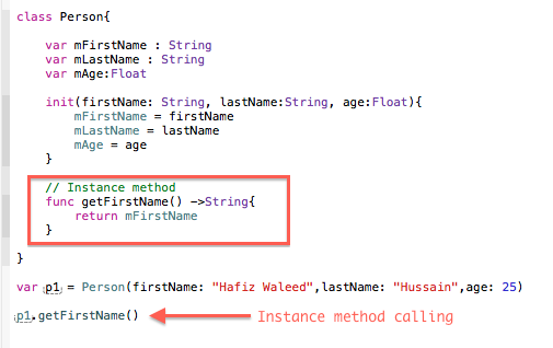 Instance method and calling