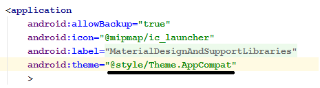 Theme.AppCompate in application tag