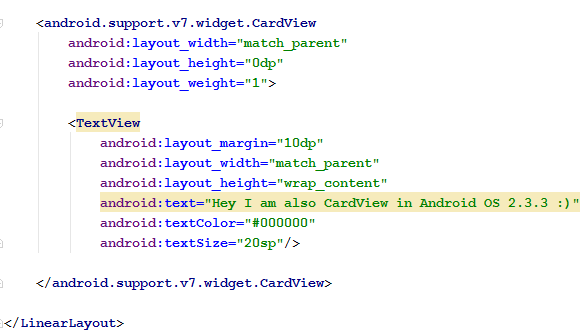 CardView code snippet2