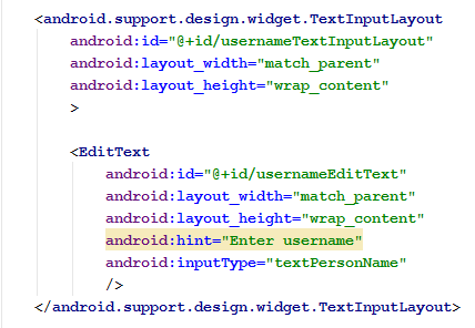 Text Input Layout XML code snippet