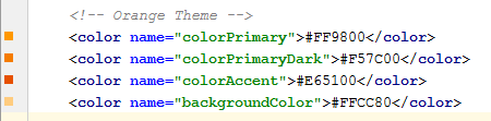 Orange theme code snippet.